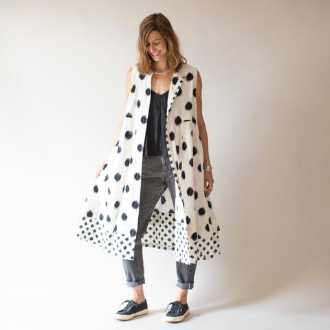 Ikat Bandra Dress - White with Dots