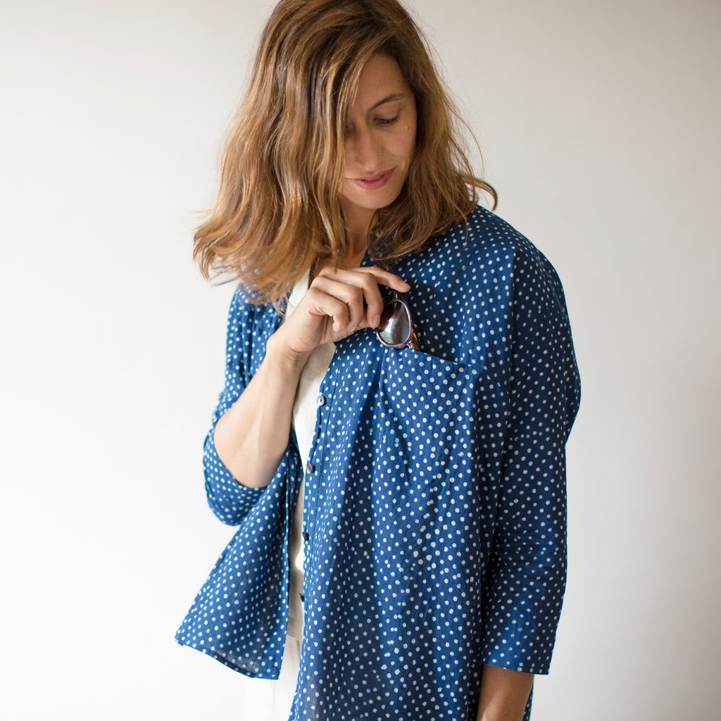 Pondicherry Top -  Indigo Dot