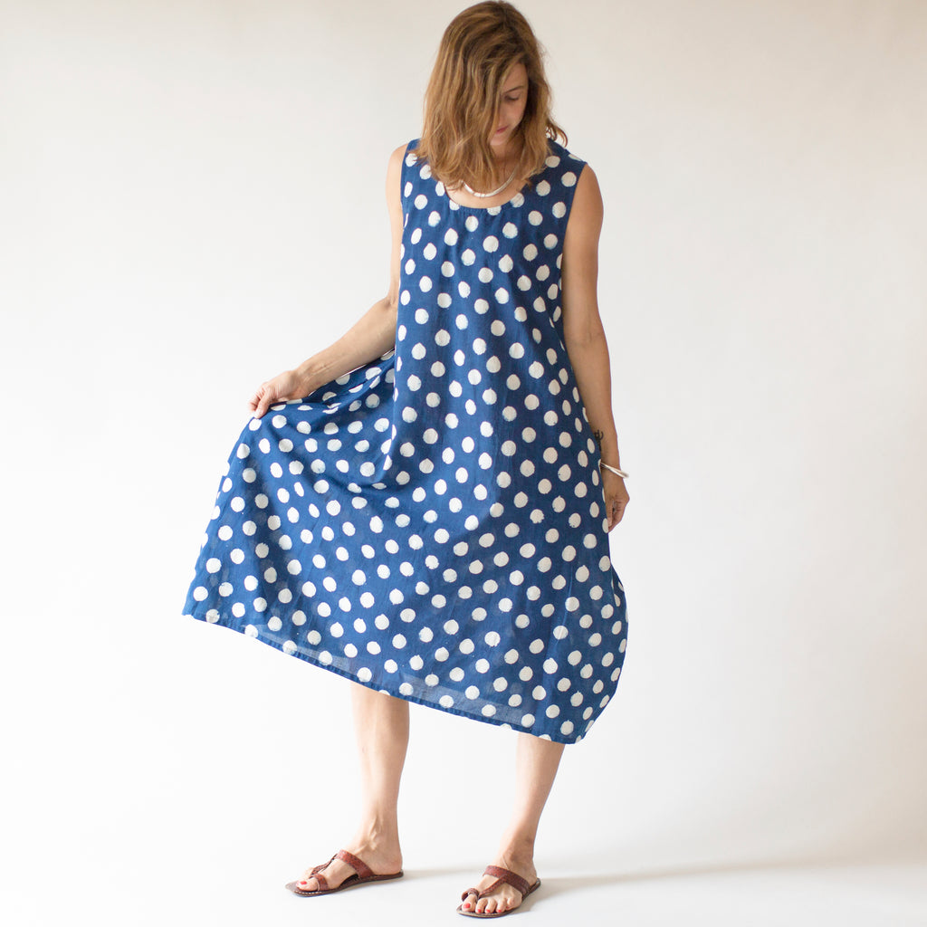 Asana Dress -  Indigo Polka Dot