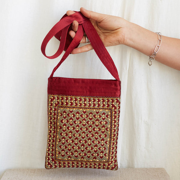 Kachchh Embroidery - Burgundy & Slate Shoulder Bag - Pattern 3