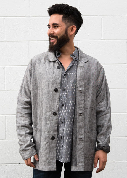 Kaam Utility Jacket - 100% Linen - Light Grey