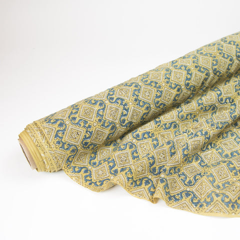 Fabric - Organic Cotton Block Printed with Natural Dyes - Gold & Indigo Tiles