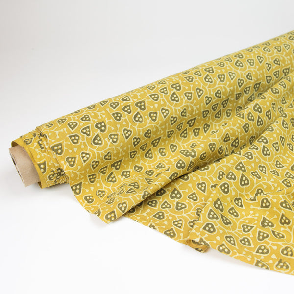 Fabric - Organic Cotton Block Printed with Natural Dyes - Gold Yellow Vine