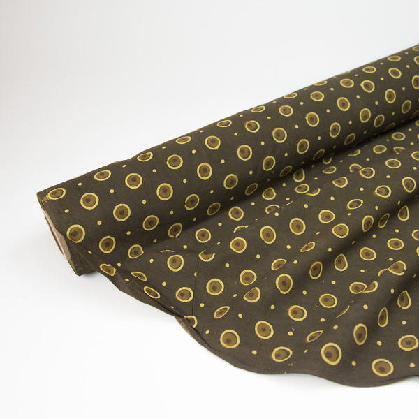 Fabric - Organic Cotton Block Printed with Natural Dyes - Walnut & Gold Dots