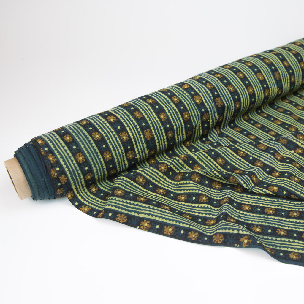 Fabric - Organic Cotton Block Printed with Natural Dyes - Teal & Gold Floral Stripes