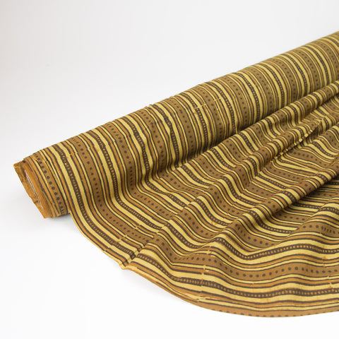 Fabric - Organic Cotton Block Printed with Natural Dyes - Raw Sienna Stripes