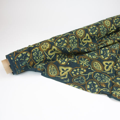 Fabric - Organic Cotton Block Printed with Natural Dyes - Teal & Gold Botanical