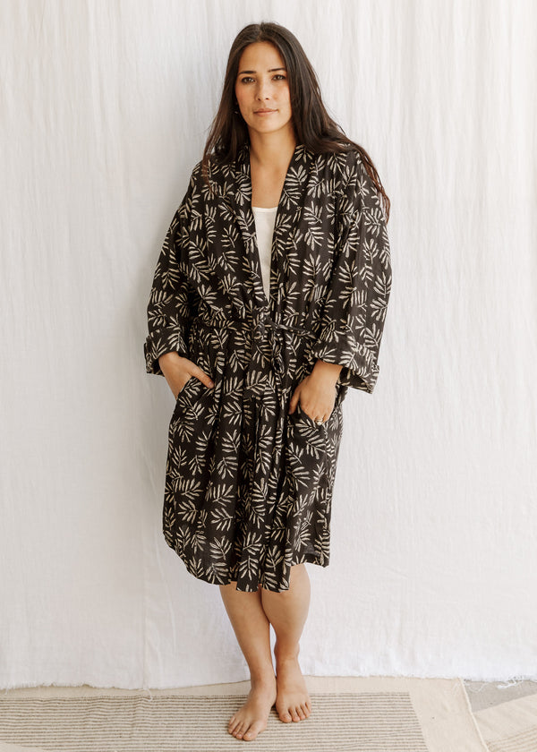 natural organic cotton naturally dyed handwoven robe sleepware loungeware eco fashion slowclothes sewn and designed by Maiwa Handprints