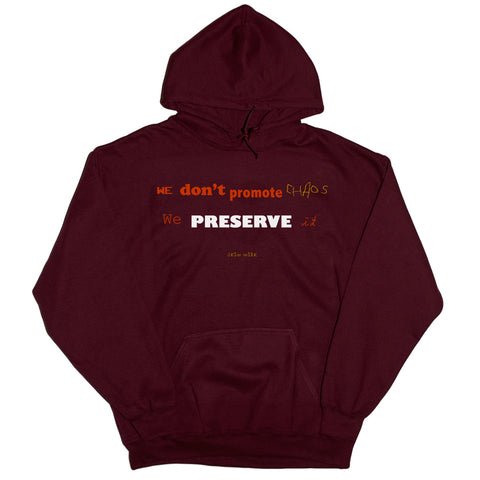 WE DON'T PROMOTE CHAOS WE PRESERVE IT HOODIE