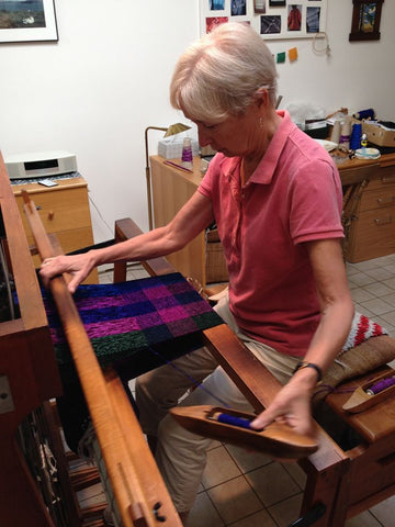 Carol Press working in her studio.