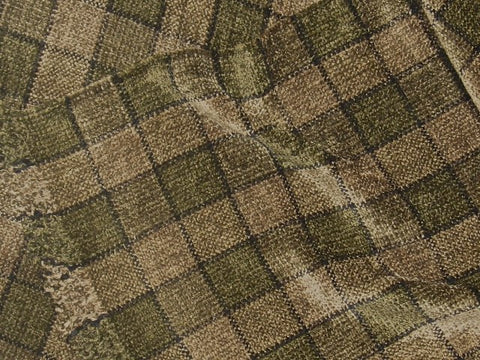 Beige, Greenish Brown, and Black Chenille Scarf <br> Small Windowpane