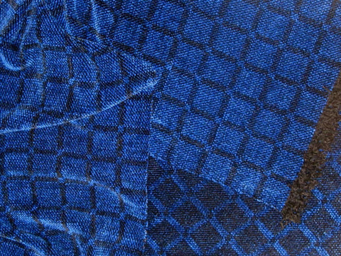 Blue and Black Chenille Scarf <br> Twill Windowpane