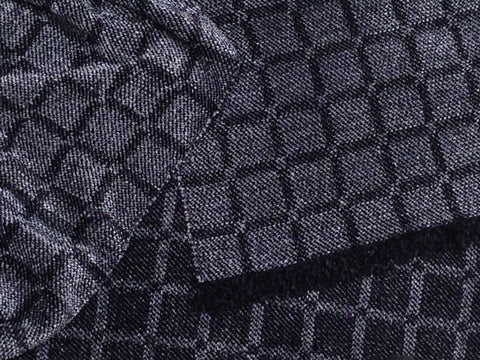Black and Gray Chenille Scarf <br> Twill Windowpane
