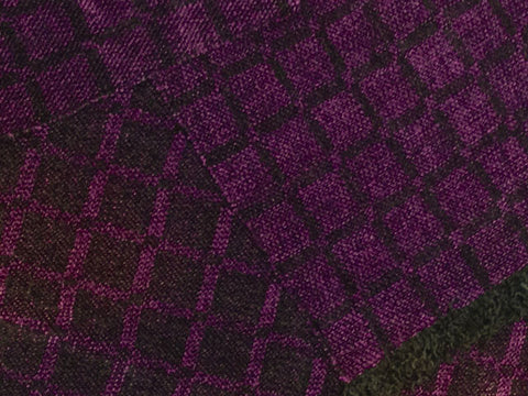 Black and Purple Chenille Scarf <br> Twill Windowpane
