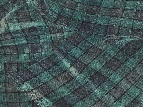 Dusty Blue, Dusty Green, Gray, and Dark Blue Chenille Scarf <br> Small Windowpane