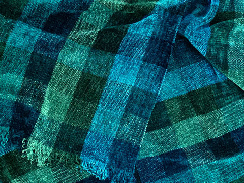 Green and Teal Chenille Scarf <br> Small Color Blocks