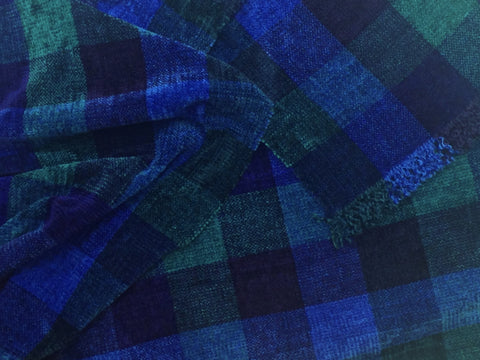 Blue and Teals Chenille Scarf <br> Color Blocks