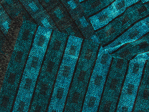 Black, Blue, Teal, and Turquoise Chenille Scarf <br> Horizontal Twill Blocks