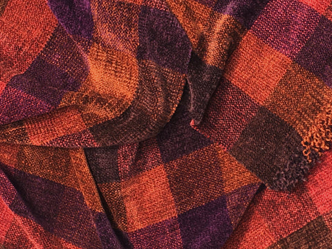 Browns, Purple, and Cayenne Chenille Scarf <br> Color Blocks