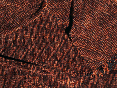 Black and Tobacco Chenille Scarf <br> Shadow Weave