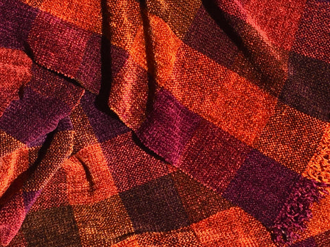 Oranges, Brown, Purple, Burgundy Chenille Scarf <br> Color Blocks