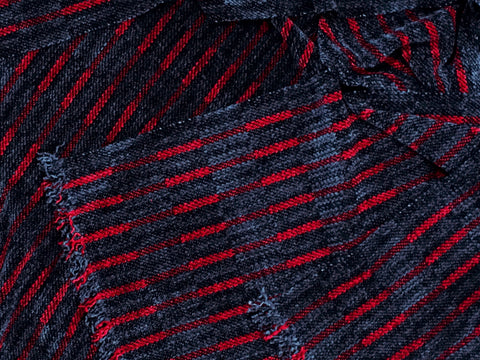 Black, Gray, and Red Chenille Scarf <br> Narrow Twill Blocks