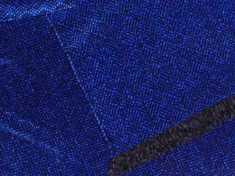 Blue and Black Chenille Scarf <br> Plaited Twill