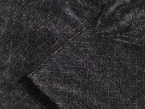 Black and Gray Chenille Scarf <br> Plaited Twill