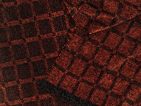 Black and Brown Chenille Scarf <br> Twill Windowpane