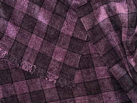Lavender and Grayish Purple Chenille Scarf  <br> Medium Windowpane