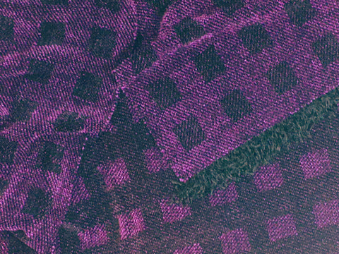 Black and Purple Chenille Scarf <br> Floating Squares