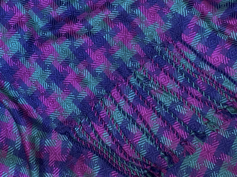 Purple, Blue, and Teal Bamboo Scarf <br> Twill Blocks