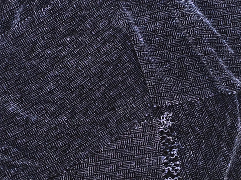 Black and Gray Chenille Scarf <br> Shadow Weave
