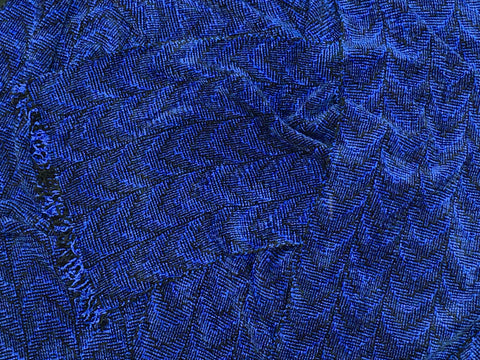 Black and Blue Chenille Scarf <br> Shadow Weave
