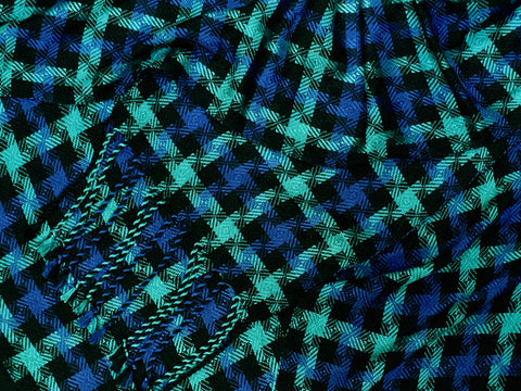 Black, Teal, and Blue Bamboo Scarf <br> Twill Blocks