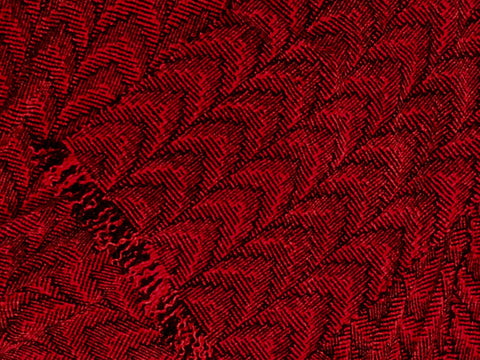Red and Black Chenille Scarf <br> Shadow Weave