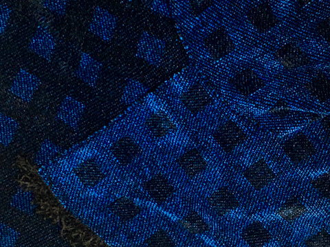 Black and Blue Chenille Scarf <br> Floating Squares