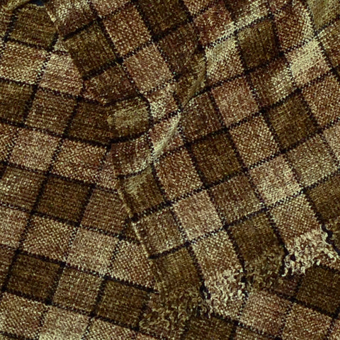 Brown, Beige, and Black Chenille Scarf <br> Small Windowpane