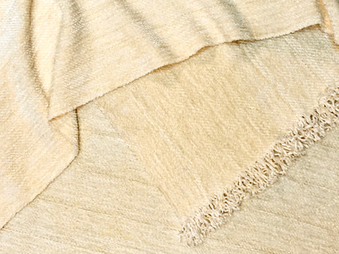 Ivory Bamboo and Chenille Scarf <br> Twill Windowpane