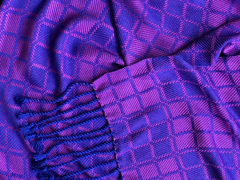 Purple and Blue Bamboo Scarf <br> Nine Squares Windowpane