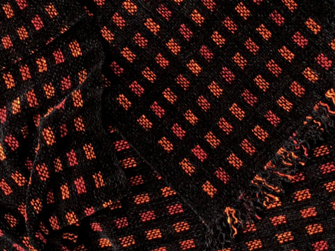 Black, Red, and Oranges Chenille Scarf <br> Small Squares