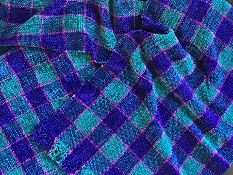 Blue, Teal, and Purple Chenille Scarf <br> Small Windowpane