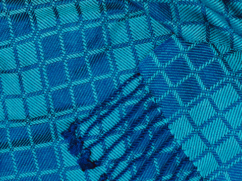 Blue and Turquoise Bamboo Scarf <br> Nine Squares Windowpane