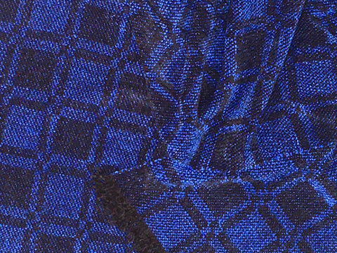 Black and Blue Chenille Scarf <br> Five Square Twill Window Pane