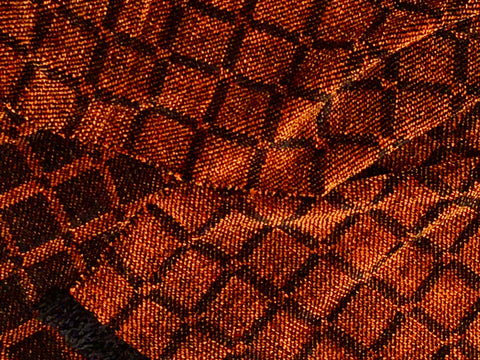 Black and Orange Chenille Scarf <br> Twill Windowpane