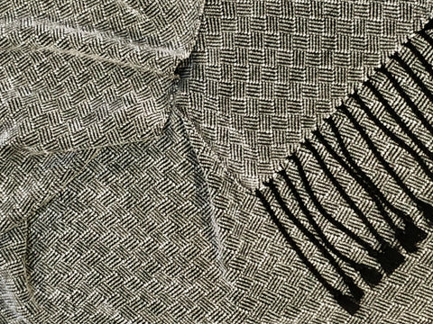 Black and Silver Bamboo and Chenille Scarf <br> Plaited Twill