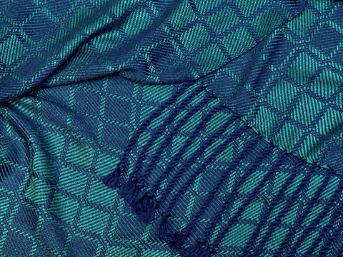 Teal and Blue Bamboo Scarf <br> Nine Squares Windowpane