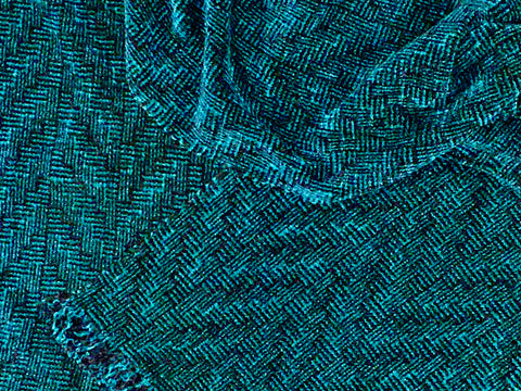Navy, Teal, and Purple Chenille Scarf <br> Shadow Weave