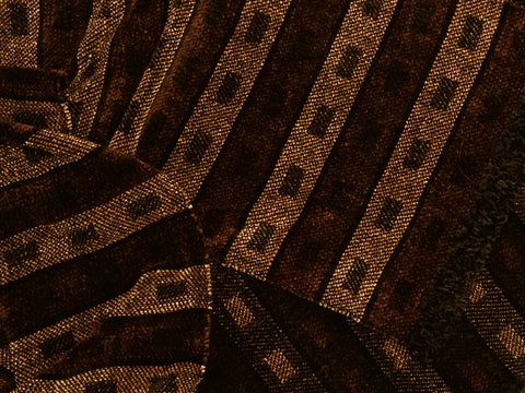 Black, Bronze, and Brown Chenille Scarf <br> Horizontal Twill Blocks