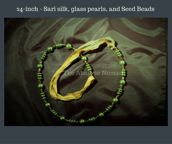 Set —Recycled Sari Silk, Glass Pearls, Seed Beads — 24-inch Necklace, Bracelet, Earrings